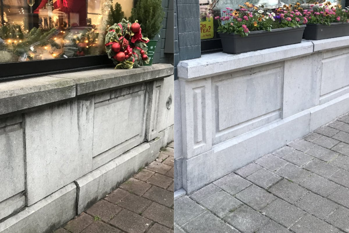 gevelreiniging grijze steen
